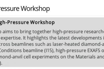 Diamond High-Pressure Workshop, 26/02/2019 - 27/02/2019