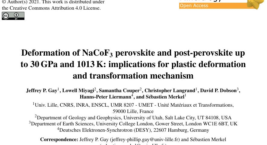 Publication in the European Journal of Mineralogy: Deformation of NaCoF3 perovskite and post-perovskite up to 30GPa and 1013K: implications for plastic deformation and transformation mechanism